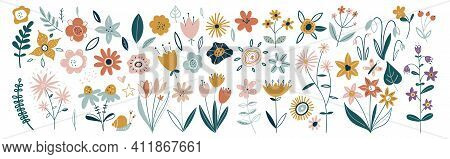 Flower Collection With Leaves, Floral Bouquets. Vector Flowers. Spring Art Print With Botanical Elem