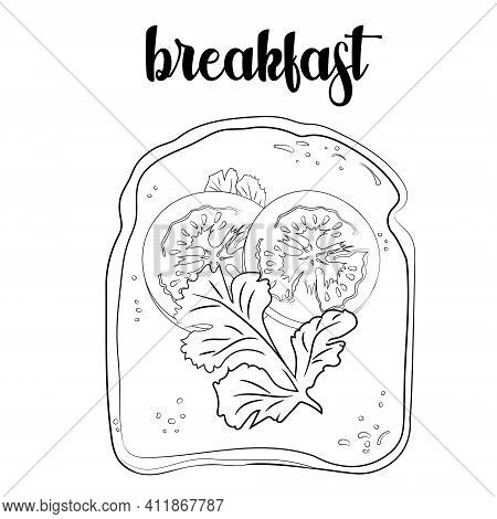 Outline Of The Toast With Tomatoes And Parsley. Vector Illustration.