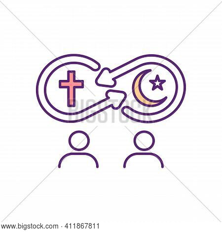 Religious Assimilation Rgb Color Icon. Communication Between Believer Of Different Confessions. Inte