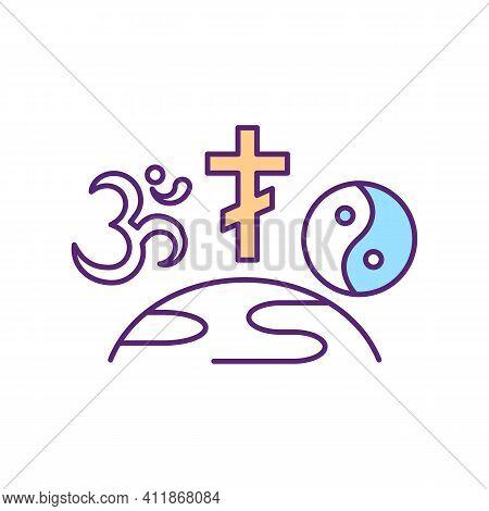 World Religions Rgb Color Icon. International Spiritual Organization. Religious Freedom And Awarenes