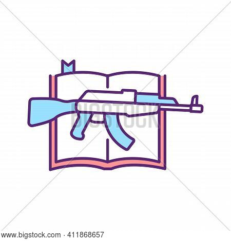 Religious Violence Rgb Color Icon. Bible And Guns. Armed Revolution On Religious Basis. Conflict In