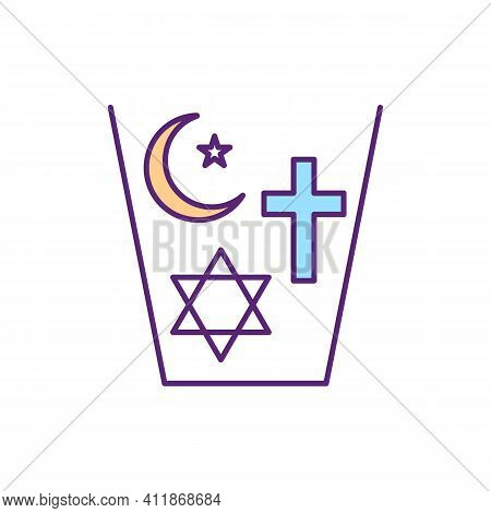 Coexisting Religions Rgb Color Icon. Spiritual Harmony. Peace And Tolerance Between Institutional Be