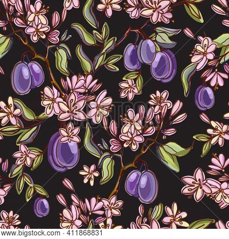Seamless Pattern With Ripe Plums And Green Leaves On Black Background. Vector Background. Fresh Frui