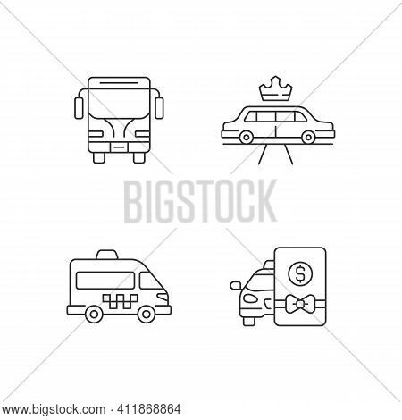 City Public Transport Linear Icons Set. Easy Movement Around The City. Shuttle Buses Avaliable. Cust