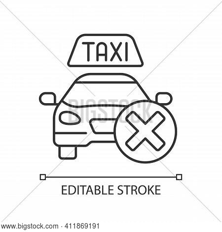 Cancellation Policy Linear Icon. Cancel Of Ordered Taxi. Trip Cancellation Penalty. Thin Line Custom