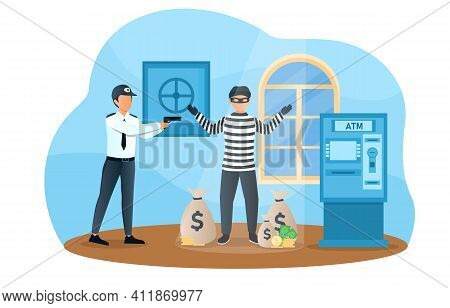 Male Bank Robber Is Caught By Police. Man In Mask Failed To Break And Steal Money From Atm. Security