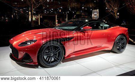 Brussels - Jan 18, 2019: Aston Martin Dbs Superleggera Sports Car Showcased At The 97th Brussels Mot