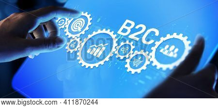 B2c Business-to-customer Marketing Strategy Cooperation Communication Finance Concept.