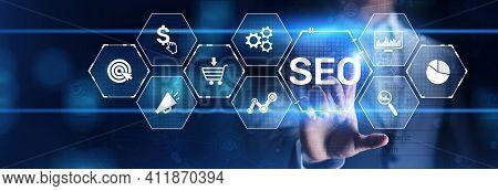Seo Search Engine Optimisation Online Digital Internet Marketing Concept On Virtual Screen.