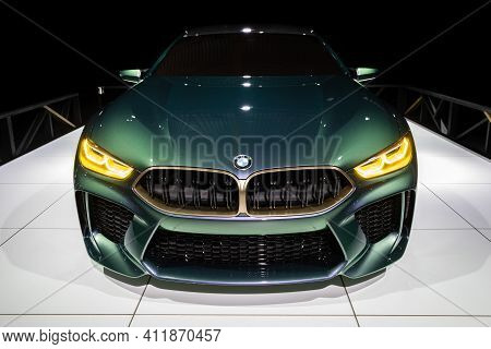Brussels - Jan 18, 2019: Bmw M8 Gran Coupe Sports Car Showcased At The 97th Brussels Motor Show 2019