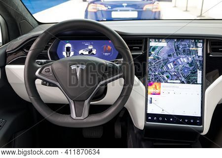 Brussels - Jan 18, 2019: Interior View Of The Tesla Model X Luxury Electric Car Showcased At The 97t