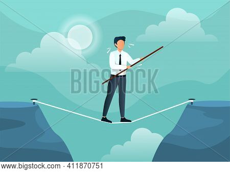 Businessman Walks On A Tightrope With A Stick. Man Is Balancing On A Rope To Get To The Other Side.