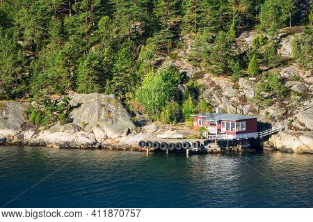 Landscape On Shore Of The Oslofjord In Norway.