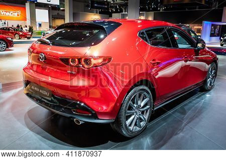 Brussels - Jan 18, 2019: European Premiere Of The New 2019 Mazda 3 Hatchback Car At The 97th Brussel
