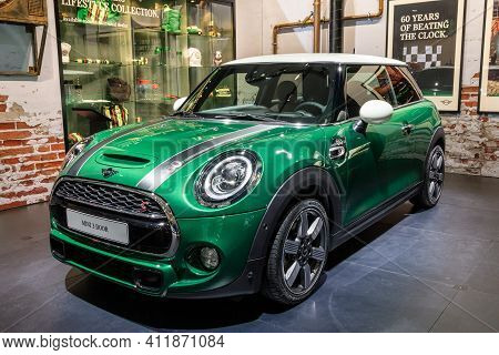Brussels - Jan 18, 2019: World Premiere Of The New Mini Cooper 60th Year Anniversary Edition Car At