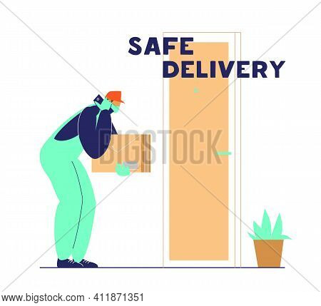Courier Puts Parcel Near Door And Calls To Client. Safe Delivery During Coronavirus Quarantine Conce