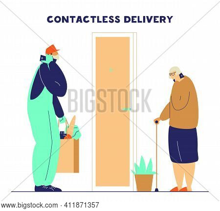 Courier In Protective Mask And Gloves Brings Food To Old Lady. Contacless Safe Food Delivery During
