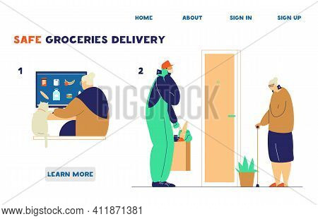 Safe Delivery For Elderly People In Quarantine Website Template. Old Lady Orders Groceries Online Th