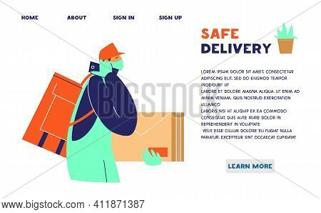 Safe Delivery Service Website Template. Courier In Protective Mask And Gloves With Delivery Bag And