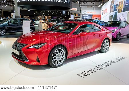 Brussels - Jan 18, 2019: Lexus Rc 300h Car Showcased At The 97th Brussels Motor Show 2019 Autosalon.