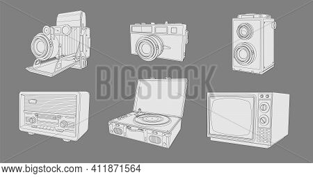 Retro Appliances, Set Of Vintage Machinery. Coloring Page With Collection Of Retro Vintage Radio, Tv