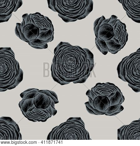 Seamless Pattern With Hand Drawn Stylized Ranunculus Stock Illustration