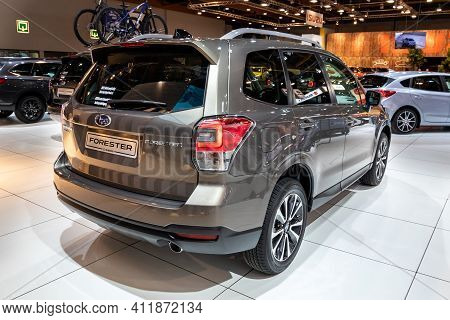 Brussels - Jan 18, 2019: Subaru Forester Car Showcased At The 97th Brussels Motor Show 2019 Autosalo