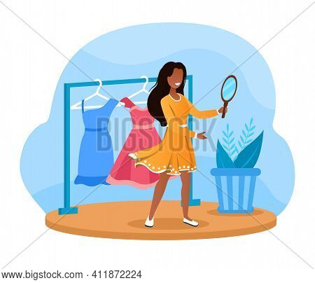 Female Characters Is Trying On New Dress In Fashion Store Fitting Room. Smiling Girl Looking In Mirr