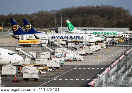 Eindhoven, The Netherlands - Feb 9, 2019: Low-budget Airlines Ryanair And Transavia Aircraft Parked