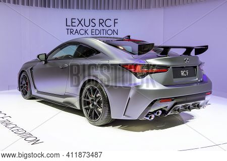 Geneva, Switzerland - March 5, 2019: Lexus Rc F Track Edition Car Revealed At The 89th Geneva Intern