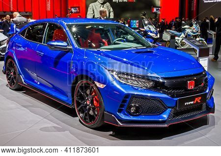 Honda Type-r Sports Car At The 89th Geneva International Motor Show. Geneva, Switzerland - March 5,