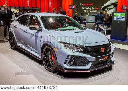 Honda Civic Type-r Sports Car At The 89th Geneva International Motor Show. Geneva, Switzerland - Mar