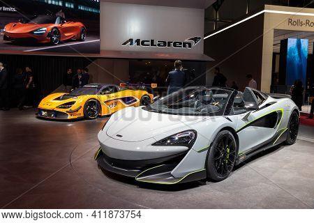 Geneva, Switzerland - March 6, 2019: Mclaren 600lt Sports Car Showcased At The 89th Geneva Internati