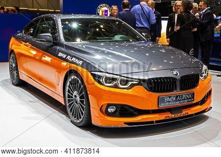 Bmw Alpina B4 Coupe Awd Edition Sprots Car At The 89th Geneva International Motor Show. Geneva, Swit