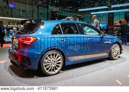 New Mercedes-amg Gt 4-door Coupe Car At The 89th Geneva International Motor Show. Geneva, Switzerlan