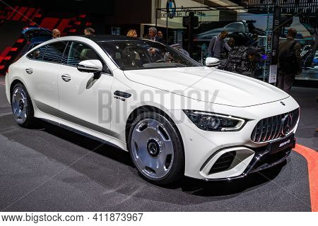Mercedes-amg Gt 4-door Coupe Sports Car At The 89th Geneva International Motor Show. Geneva, Switzer