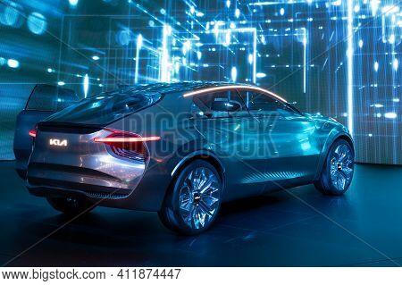 Geneva, Switzerland - March 5, 2019: Kia Concept Car Reveiled At The 89th Geneva International Motor