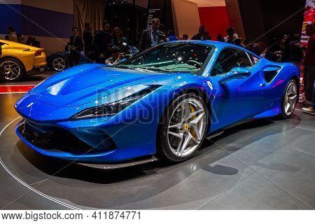 Ferrari F8 Tributo Sports Car At The 89th Geneva International Motor Show. Geneva, Switzerland - Mar
