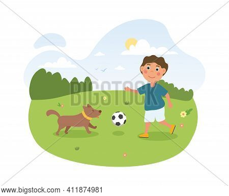 Happy Cute Little Kid Playing With His Dog. Cheerful Kid Playing Ball With Cute Dog Outdoors In The