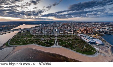 Russia, St.petersburg, 06 May 2020: Aerial Panoramic Image Of Primorskiy District At Sunset, Park Of