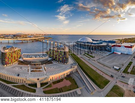 Russia, St.petersburg, 06 May 2020: Aerial Panoramic Image Of Trade Center Piterland At Sunset, Park