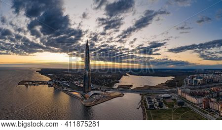 Russia, St.petersburg, 06 May 2020: Aerial Panoramic Image Of Skyscraper Lakhta Center At Sunset, Ni