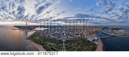 Russia, St.petersburg, 06 May 2020: Aerial Panoramic Image Of Highest Skyscraper In Europe Lakhta Ce