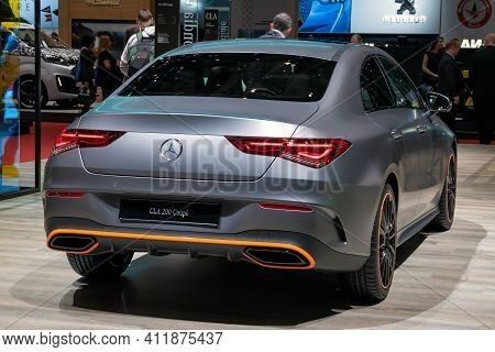 Geneva, Switzerland - March 5, 2019: Mercedes Benz Cla 200 Coupe Car Showcased At The 89th Geneva In