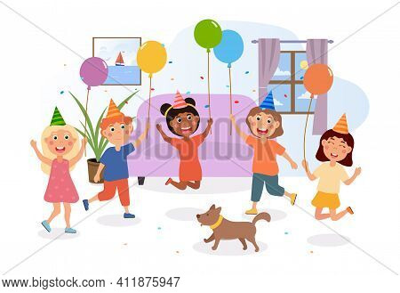 Happy Children Having Fun At The Party. Smiling Kids Jumping With Confetti And Baloons. Little Dog I