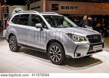 Subaru Forester  Compact Crossover Suv Car At The 89th Geneva International Motor Show. Geneva, Swit