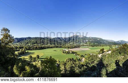 Skyline Of The Seyne Les Alpes Valley In The French Region Provence Des Haut Alpes, France