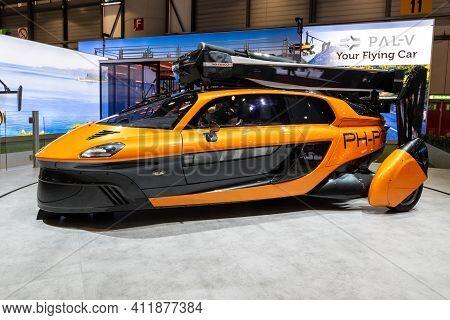Geneva, Switzerland - March 5, 2019: Pal-v Liberty Flying Car Showcased At The 89th Geneva Internati