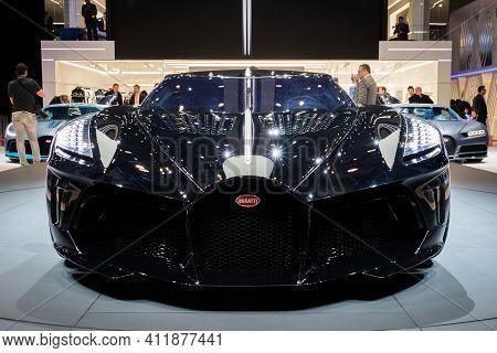 Geneva, Switzerland - March 6, 2019: One-off 19 Million Dollar Bugatti La Voiture Noire Supercar Deb