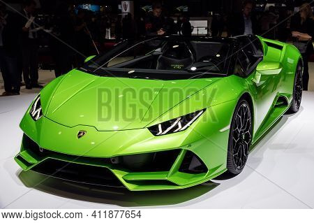 Geneva, Switzerland - March 6, 2019: New 2019 Lamborghini Huracan Evo Spyder Supercar Debuts At The